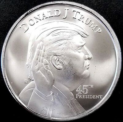 Donald J. Trump, 45th President, One Troy Ounce, .999 Fine Silver Round! 39 mm!