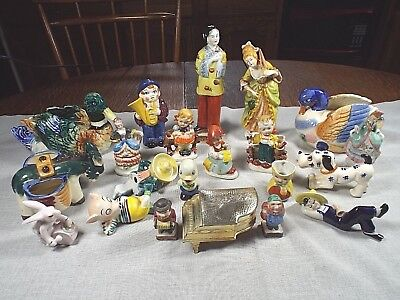 Vintage Lot of Occupied Japan Figurines Dogs Metal Piano Trinket Box Tiny Toby+
