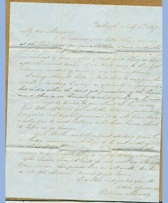 1847 antique STAMPLESS LETTER~WILLIAM/MARGARET MOODY pittsburgh,barrington pa