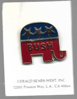 George H.w. Bush Republican Elephant Presidential Campaign Lapel Pin