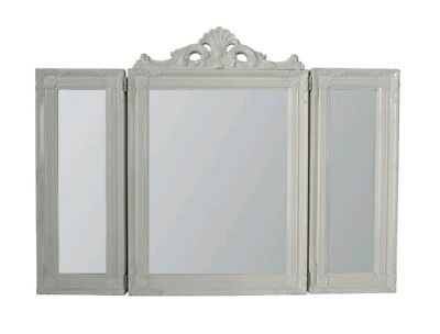 French Country Ornate Dressing Table Mirror Shabby Chic Vintage Antique White