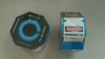 (Two) Accuform, DANGER TAGS, Tags by the Roll, Quantity 100 Per, Barricade