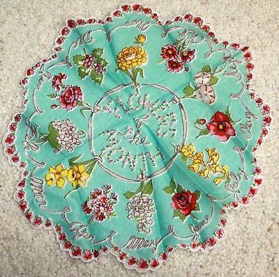 Vintage Handkerchief Hanky flowers of the month round scalloped