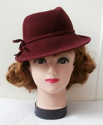 Vintage Late 1940 s Burgundy Velvet Finish Felted Wool Ladies  Trilby Style  Hat 9793df329279