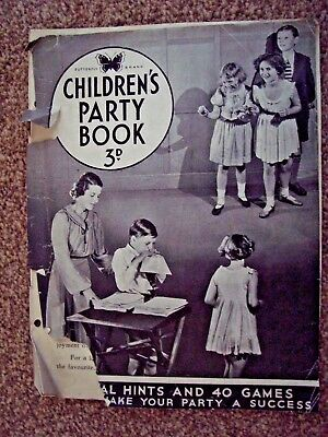 Vintage 1950s Butterfly Brand Children's Party Book -Great Bit Of Social History