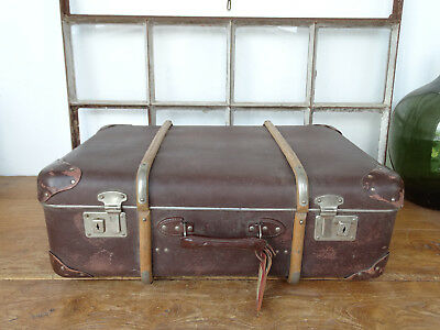 S5579 Old Travel Suitcase um 1940 ~Vintage~ Classic Car with Wooden Strips