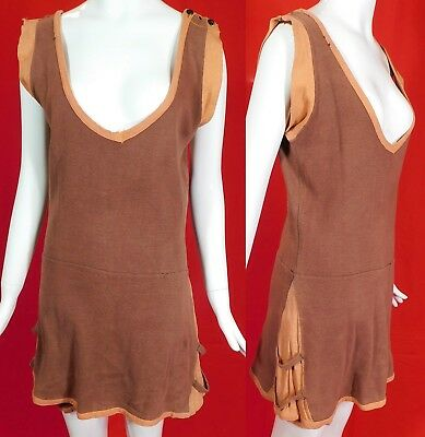 Vintage 1920s Men's Two Tone Brown Soft Cotton Jersey Knit Onepiece Swimsuit