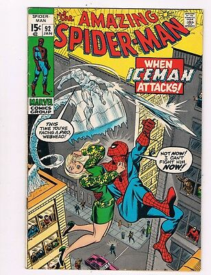 Amazing Spider-Man #93 (1971) Iceman Appearance...gwen Stacy On Cover