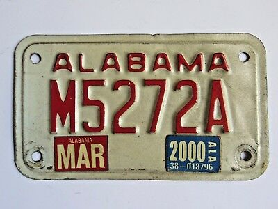 2000 Alabama Motorcycle License Plate M5252A