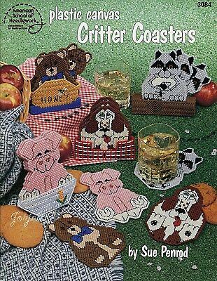 Critter Coasters ~ 9 Animal Coaster Sets plastic canvas patterns NEW