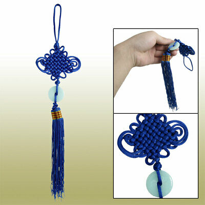 Blue Tassel Faux Jade Decor Chinese Traditional Knot Ornament for Car