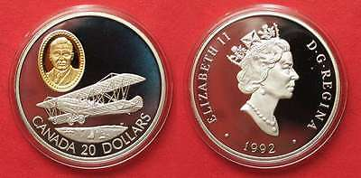 "CANADA 20 Dollars 1992 Curtiss JN-4 Canick ""Jenny"" AVIATION silver Proof # 91950"