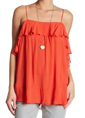 NWT Free People Cascades Cami Ruffle Top Pink XS S M L