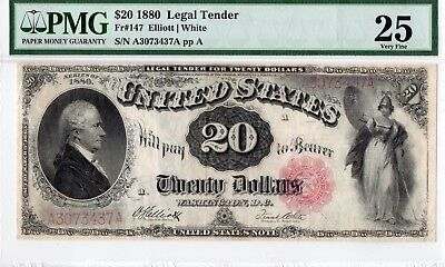 """1880 $20  Dollar Legal Tender  Note.Fr.#147 PMG-25 """"Comment"""" Very Fine"""