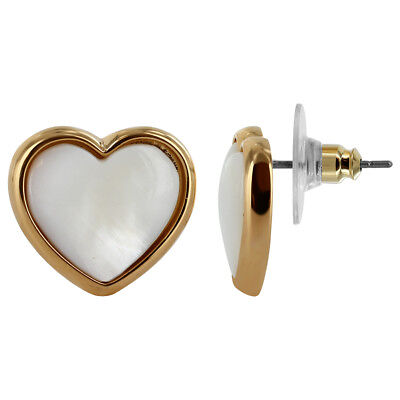 Gold Plated Faux Simulated Mother of Pearl Heart Earrings #JSEG027