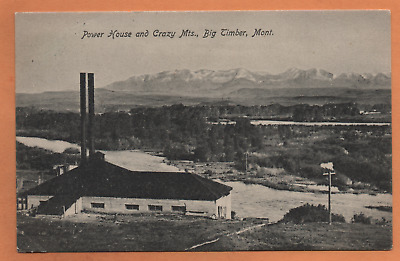 MT Montana Big Timber Power House Crazy Mountains Sweet Grass County Postcard