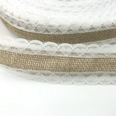 2M Jute Burlap Christmas wedding Decor Natural Jute Heart shape lace Ribbon