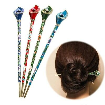 Women Chinese Style Metal Rhinestone Hair Chopsticks Stick Hairpin Charm Jewelry