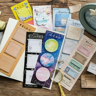 Memo Pads Sticky Notes Stationery Vintage Paper Notepad Stickers 60 Sheets