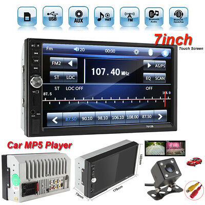 "Car Video MP5 Player 2 Din 7"" Touchscreen FM Bluetooth Radio Audio Stereo Camera"