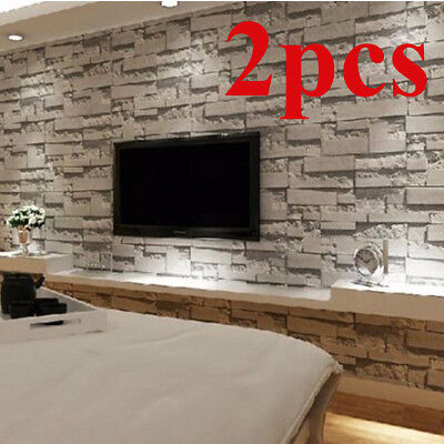 2 Rolls Wallpaper Stickers 3D Textured Brick Stone Vintage Modern Wall Paper