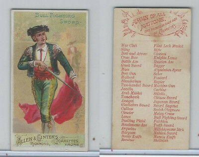 N3 Allen & Ginter, Arms of all Nations, 1887, Bull Fighting Sword