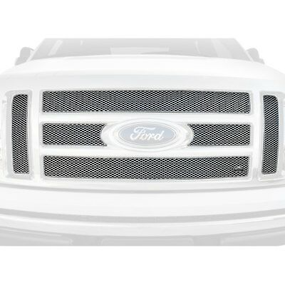 For Ford F-250 Super Duty 08-10 6-Pc MX Series Silver Fine Mesh Main Grille
