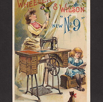 Antique Wheeler & Wilson Sewing Machine No 9 Parrot Cat Victorian Adv Trade Card