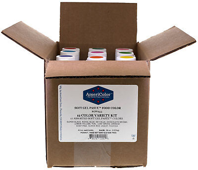 AmeriColor Food Coloring 4.5 Ounce Soft Gel Paste 12 Color Variety Kit