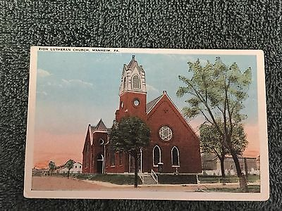 Zion Lutheran Church Manheim Pennsylvania PA Postcard ID#425