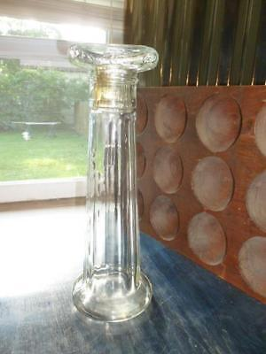 "Vintage Glass 12.5"" Column Pillar Shaped Bottle with Lid"