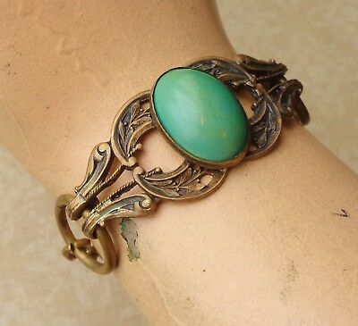 Vintage Bracelet Antique Art Nouveau Brass Centerpiece W/ Green Celluloid