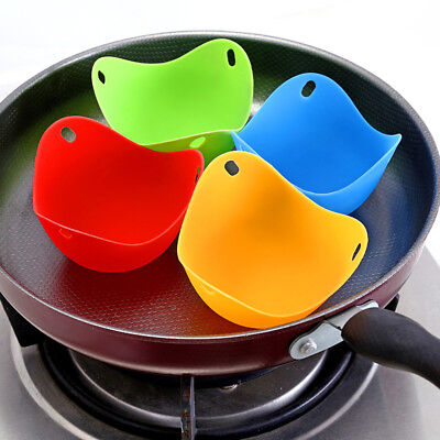 4 Silicone Egg Poacher Cup Mould Cook Poach Egg Boil Maker Cookware Kitchen Tool