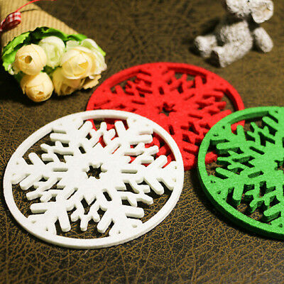 Christmas Snowflakes Cup Pad Mat Coaster Non-woven Dinner Party Dish Tray BS
