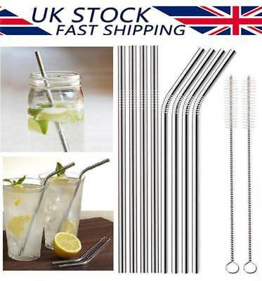 Stainless Steel Metal Drinking Straws Reusable Bar Cocktail Stirrer Eco Friendly