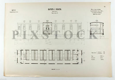 1908 Imperial Russian Railway WAGON 1st Class Genuine BLUEPRINT DRAWING #64