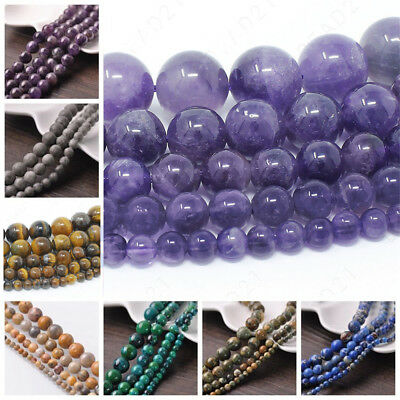 Natural Gemstone Round Spacer Beads For Jewelry Making DIY 4mm 6mm 8mm Wholesale