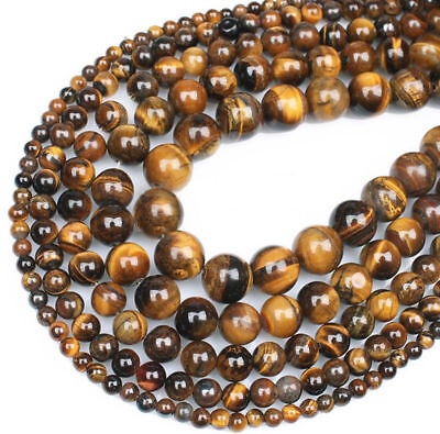 Fashion Natural Tiger's Eye Gemstone Round Beads For Jewelry Making 4mm 6mm 8mm