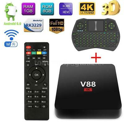 4K TV Box V88 Android 7.1 Quad Core WiFi 1080P 8GB WiFi 4K Media With Keyboard