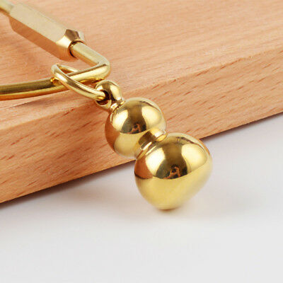 Chinese Traditional Style DIY Gear Pendant Key Ring Chain Solid Brass Gourd,