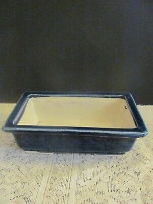#120 Vintage Japanese Pottery Bonsai Pot Rectangle Blue Glazed