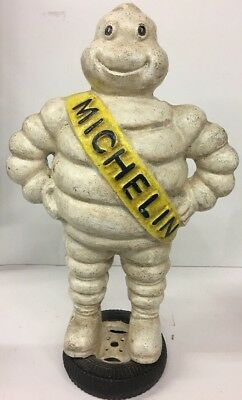 """Huge 15"""" HEAVY OLD Cast Iron Michelin Man STATUE Dirty But In Nice Shape"""