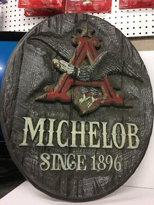 HUGE rustic Wood-like Vintage Michelob Beer Since 1896 Flying Eagle Plastic Sign
