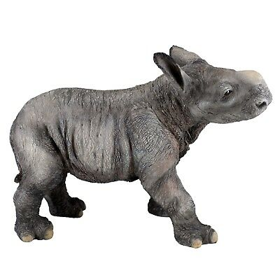 "Baby Rhinoceros Figurine 6.25"" Long Highly Detailed Polystone New!"
