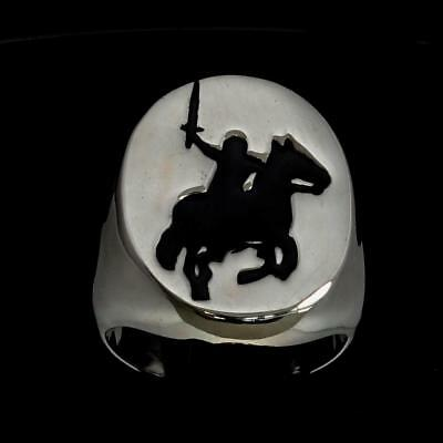 Sterling Silver Medieval Mens Ring Attacking Knight On Horse Black Any Size