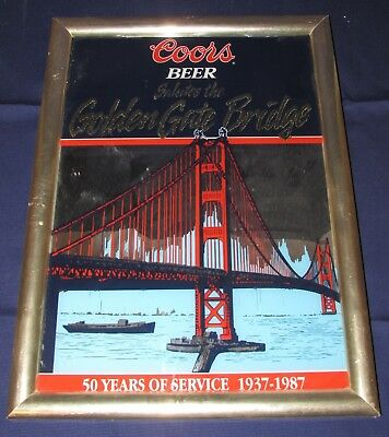 Rare Coors Beer Golden Gate Bridge Commemorative Mirror, 1987 50th Anniversary
