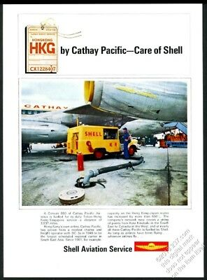 1969 Cathay Pacific Airlines 880 plane photo Shell Oil aviation vintage print ad