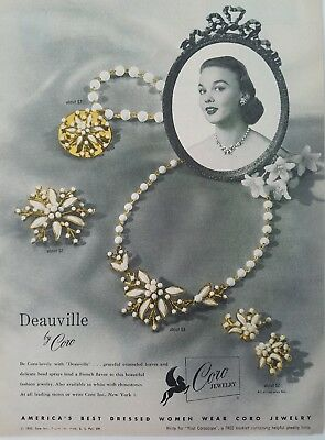 1953 women's CORO DEAUVILLE enameled leaves vintage jewelry ad