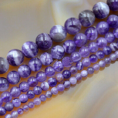 """Natural Purple Dream Lace Amethyst Gemstone Round Bead 4mm 6mm 8mm 16"""" Pick Size"""