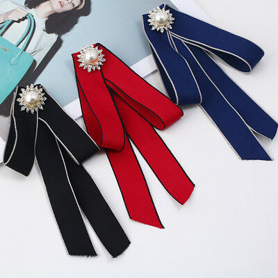 Women Shirt Bow Ties Ladies Necktie Pearl Ribbon Pendant Collar Tie Brooch